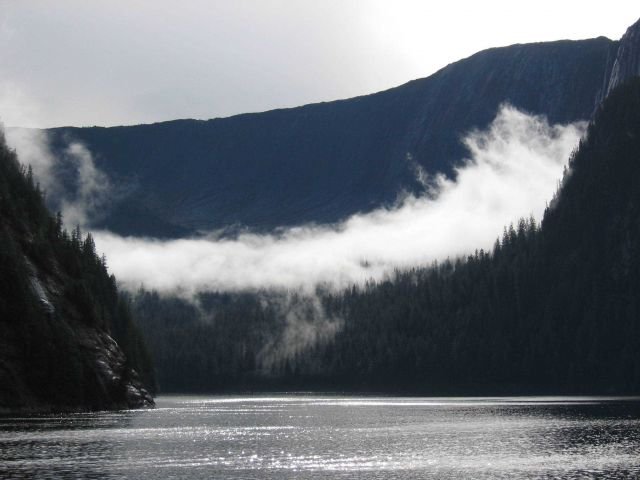 A ribbon of cloud draped across a glacial valley in the Rudyerd Bay area while sunlight sparkles on the water. Picture