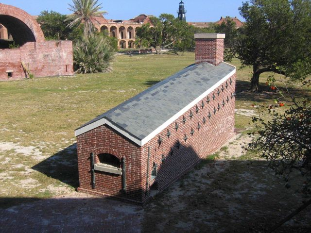 Interior buildings and the lighthouse at Fort Jefferson. Picture