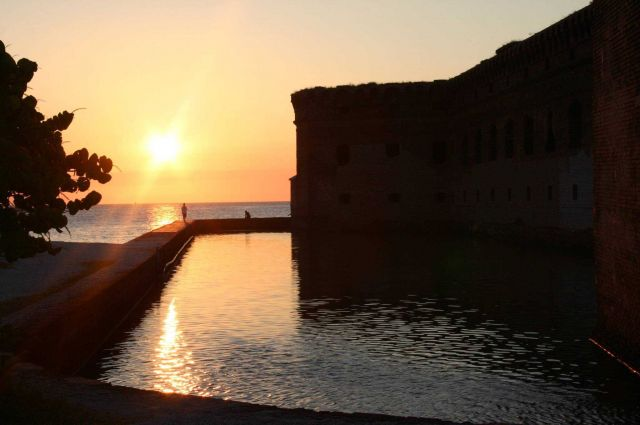 The moat at sunset at Fort Jefferson. Picture