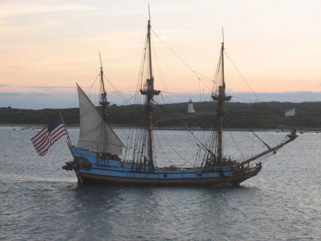Delaware's tall ship, the KALMAR NYCKEL, sailing into the sunset Picture