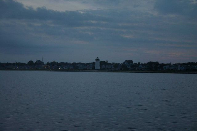 The lighthouse at Edgartown at dusk. Picture