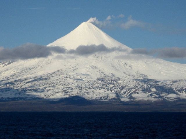 Shishaldin Volcano, one of the great navigational landmarks of Alaska. Picture