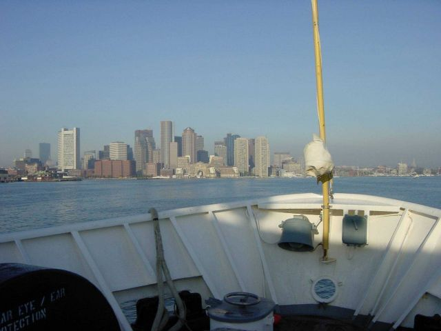 The Boston skyline as seen from the bridge of the NOAA Ship WHITING. Picture