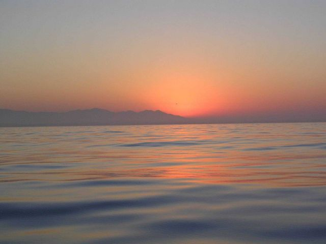 Sunrise as seen from the contract fishery research vessel SEAHORSE. Picture