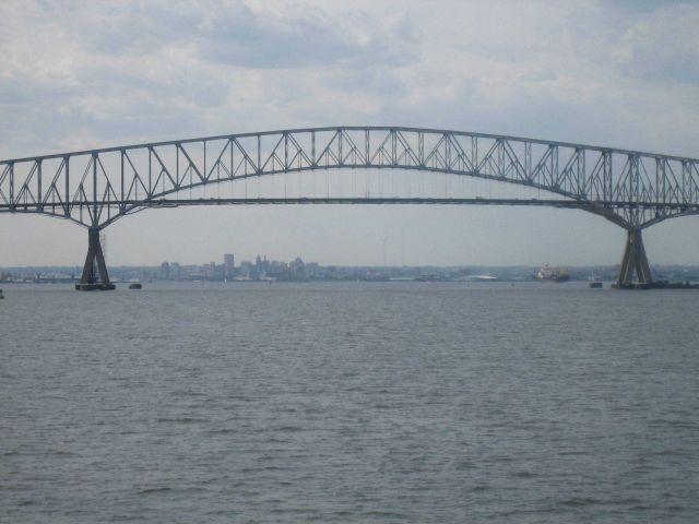 The I-695 Francis Scott Key Bridge spanning Baltimore Harbor. Picture