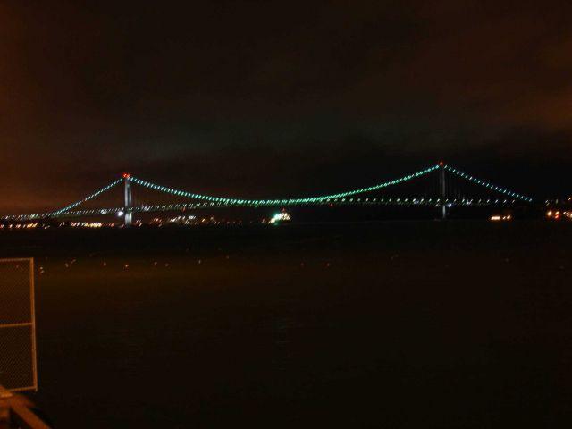 The Verrazano-Narrows Bridge at night. Picture