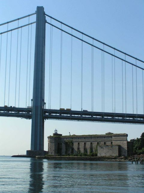The west pier of the Verrazano-Narrows Bridge with Fort Wadsworth in the foreground. Picture