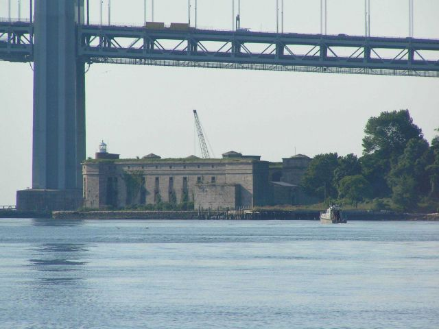 The west pier of the Verrazano-Narrows Bridge with Fort Wadsworth in the foreground Picture