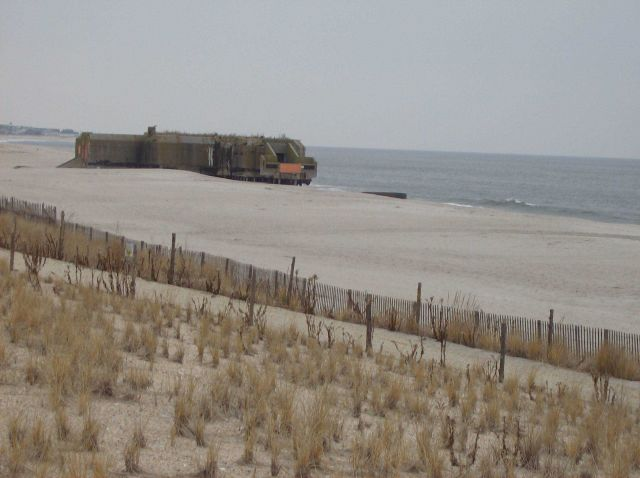 World War II Coast Artillery bunker exposed by retreating dune line at Cape May. Picture