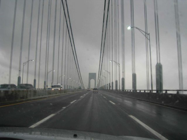 Crossing over Verrazano Narrows Bridge from Staten Island to Long Island. Picture