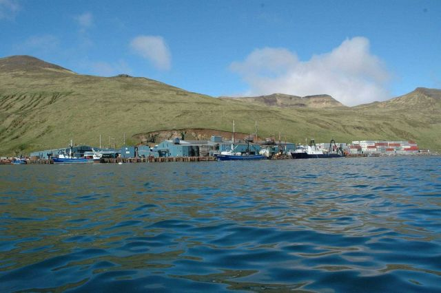 Fishing boats and stacked containers at Akutan Harbor Picture
