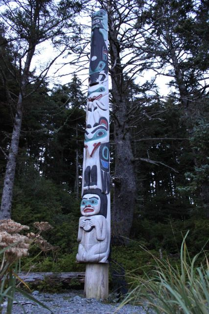 Tlingit totem pole made specifically as a memorial to Michio Hoshino, a famous nature photographer who was killed by a bear on Kamchatka Picture
