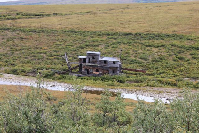 A deserted gold dredge outside Nome, Alaska, in the watershed of the Nome River. Picture