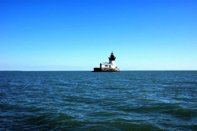 Detroit River Lighthouse south of Detroit River on Lake Erie. Picture