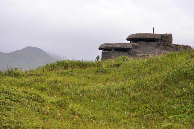World War II concrete lookout bunker overlooking the harbor. Picture