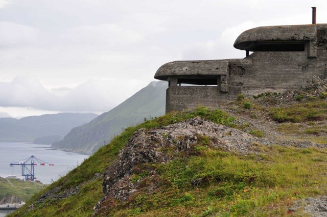 World War II concrete lookout bunker overlooking the harbor Picture