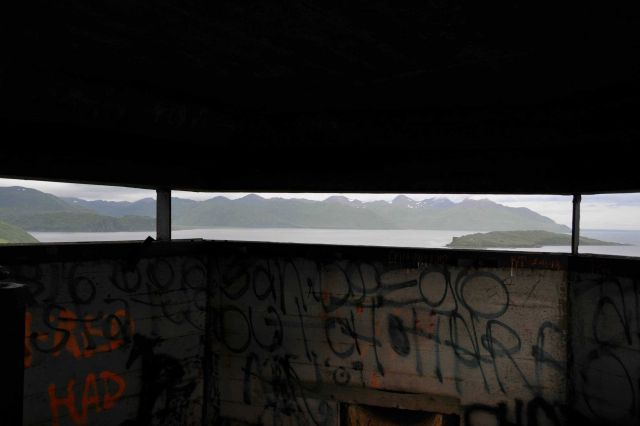 The view from the World War II lookout bunker above the town of Dutch Harbor. Picture