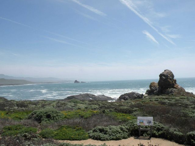 A view of the landmarks researchers use for guiding each other to find whales in the water at Point Piedras Blancas Picture