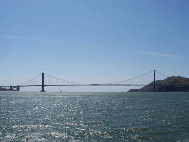 Heading out of San Francisco Bay - looking west to the Golden Gate Bridge. Picture