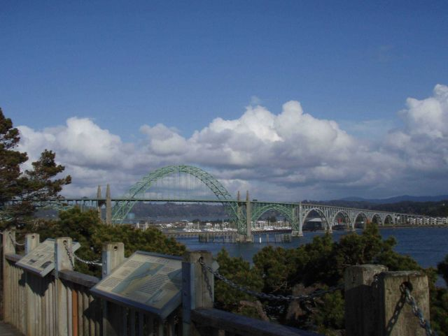 The Yaquina Bay Bridge looking south. Picture