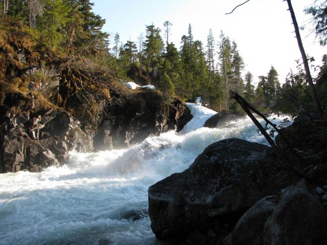 Baranof River waterfalls as they enter Warm Springs Bay. Picture