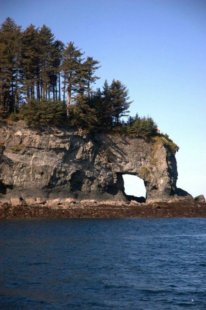 A natural bridge on Kachemak Bay seen at low tide. Picture