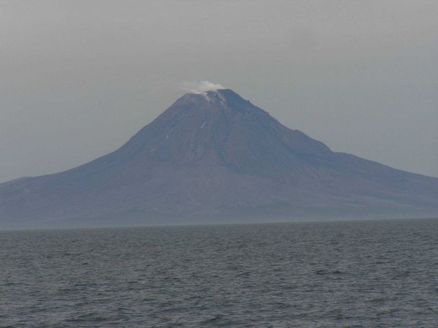 Augustine Volcano, an island at the southwest end of Cook Inlet. Picture