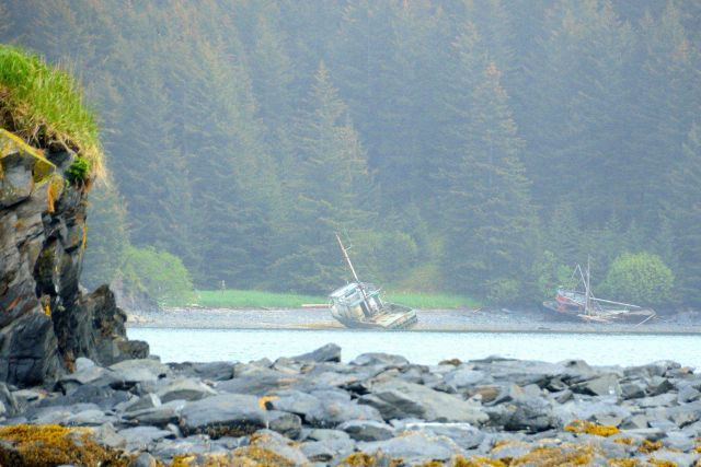Derelict fishing boats on the shore on Kodiak Island. Picture