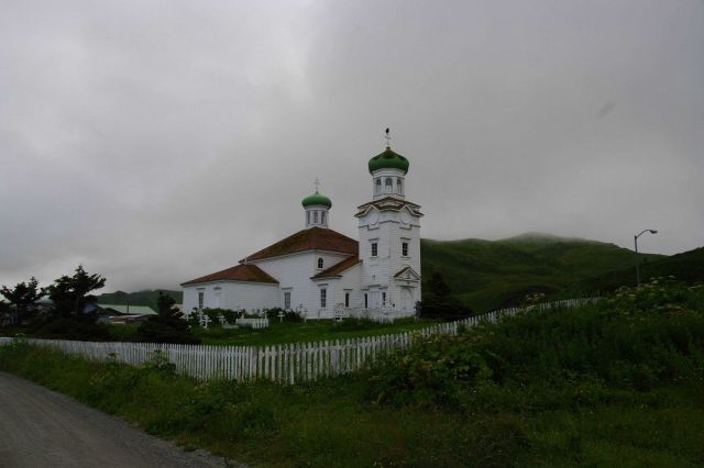 The beautiful Russian Orthodox Church at Dutch Harbor. Picture