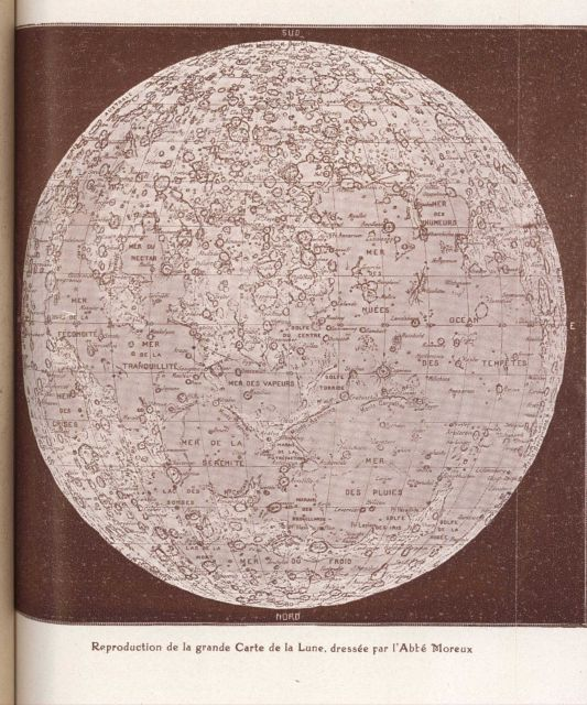 Reproduction of the large map of the moon by the Abbe Moreux Picture