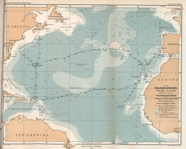 Bathymetric map of North Atlantic Ocean showing the track of H.M.S Picture