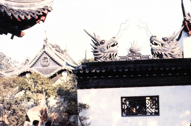 Dragon heads adorn a temple. Picture