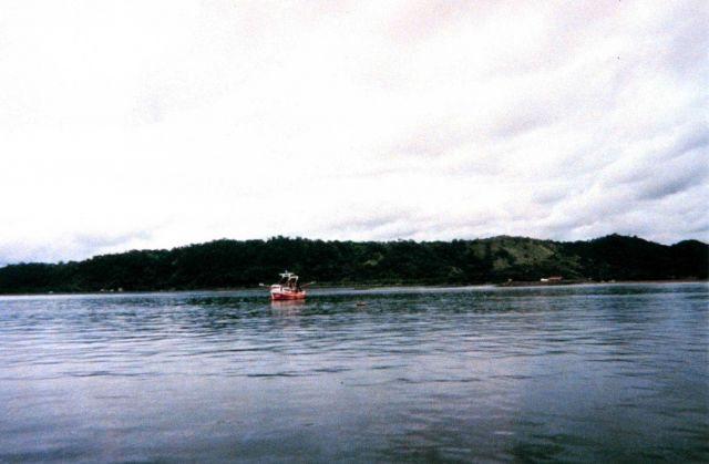 A shrimp boat seen from the NOAA Ship McARTHUR while entering the harbor at Puntarenas. Picture