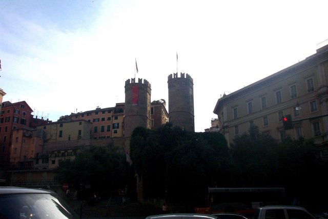 Battlements of an early castle in Genoa. Picture