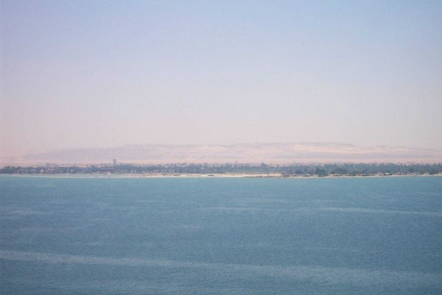A resort area somewhere as seen from sea in the Mideast. Picture