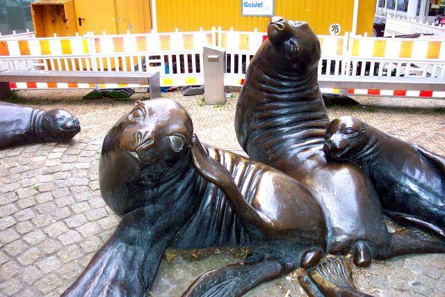 Sculpture of harbor seals. Picture