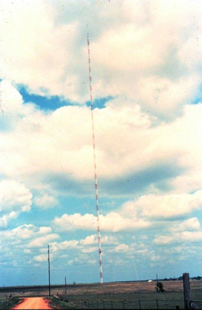 NSSL researchers mounted weather instruments on this very tall TV tower Picture
