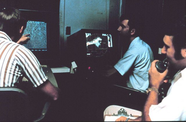 NSSL researchers test new multi-moment Doppler Radar display in the late 1970's Picture