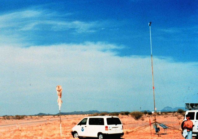 Installing a surface meteorological measurement tower in Arizona. Picture