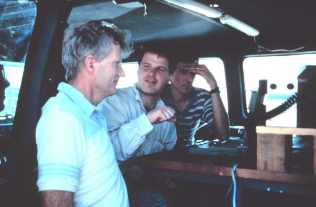 Bob Davies-Jones, Jerry Straka, and Rasmussen on Project Vortex. Picture