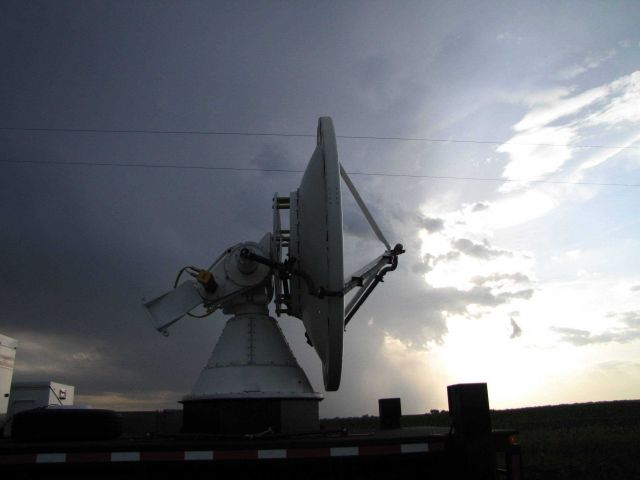 NOAA/NSSL X-Pol Mobile radar scanning before the storm. Picture