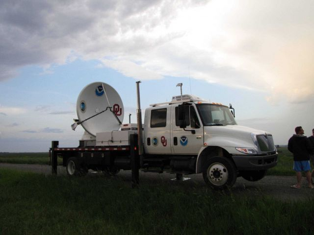 NOAA/NSSL X-Pol Mobile radar ready for operation. Picture