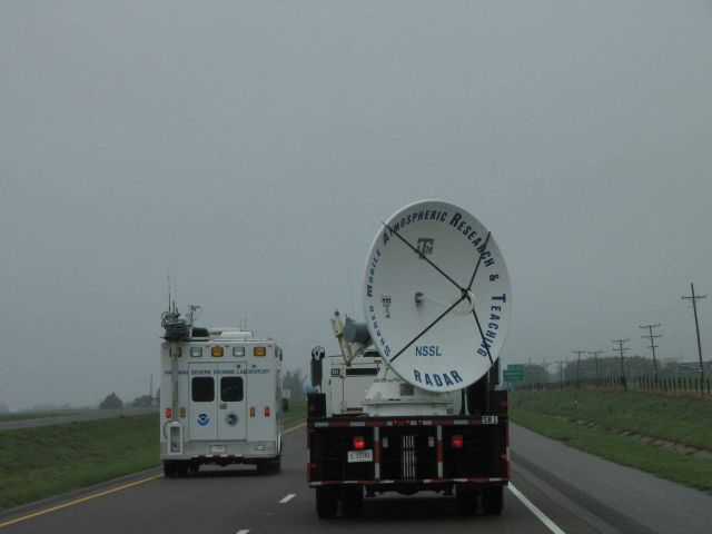 The field command vehicle passing the SMART-R radar outside of Canute, Oklahoma, on I-40 heading towards Texas. Picture