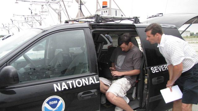 Making preparations for the storm chase in an NSSL vehicle Picture