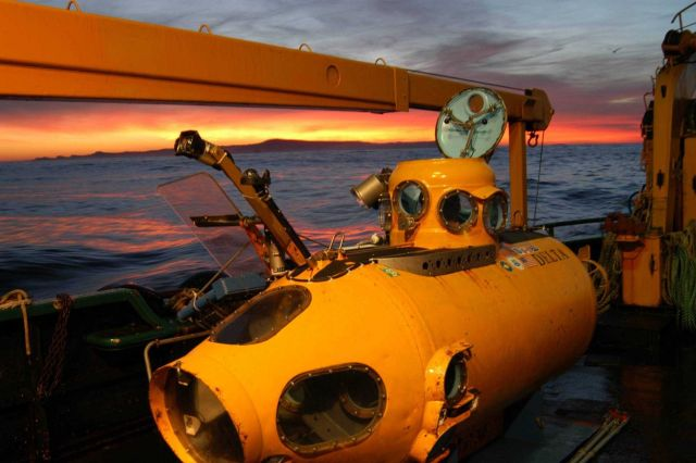 The research submersible DELTA illuminated at sunrise. Picture