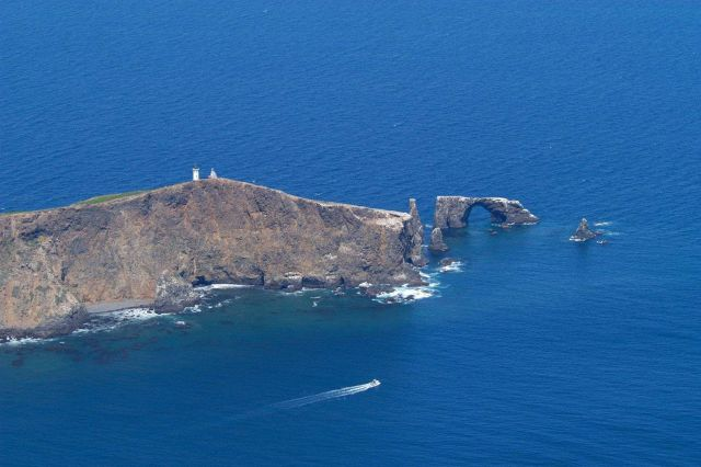 Aerial view of the lighthouse and rock arch on Anacapa Island Picture