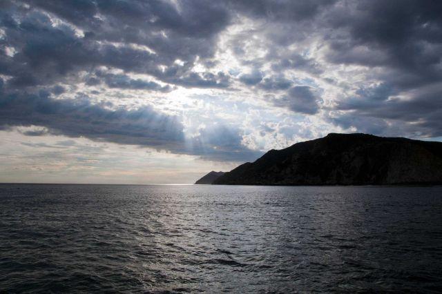 Clouds over Santa Cruz Island near sunset. Picture