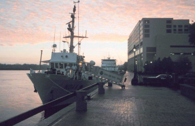NOAA Ship RUDE tied up at sunset at NOAA's Atlantic Marine Center in Norfolk. Picture