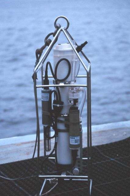 A CTD instrument ready for deployment. Picture