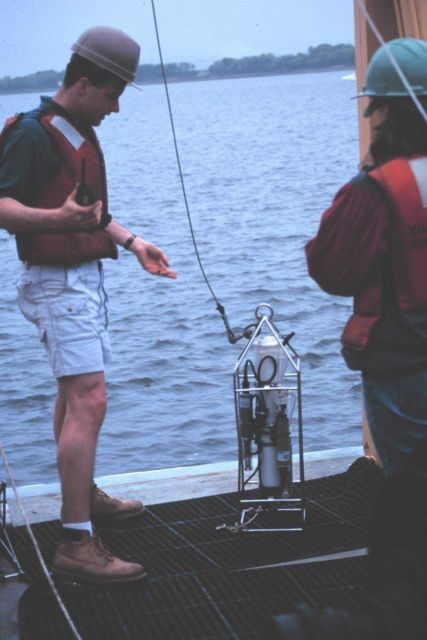 Deploying a CTD instrument from the NOAA Ship FERREL. Picture